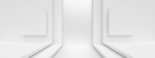 Fotobehang - Abstract Architecture Design. Minimal Modern Background. White Interior Concept.