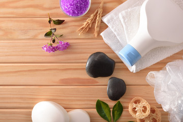 Bath hygiene products on wood table top view