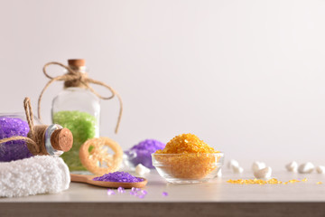 Bath salts for body wellness on table white isolated background