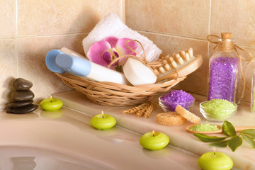 Skin care products in the bathroom
