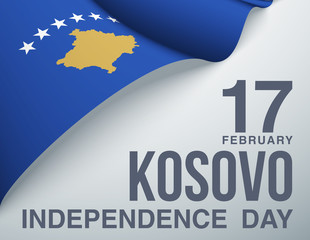 illustration festive banner Happy independence day with state flag of The Republic of Kosovo. Card with flag and coat of arms Republic of Kosovo 2020. picture banner February 17 of foundation day