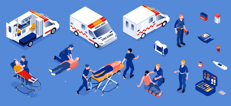 Ambulance Isometric Set