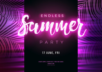 Dark purple neon tropical summer party flyer with copy space. Modern blurs and gradients. Electric glow and palm leaves background. Vector illustration.