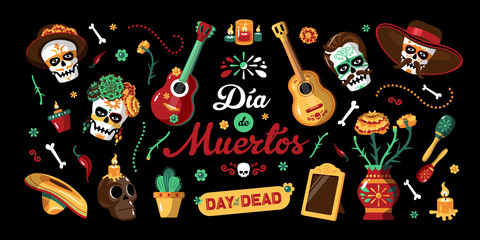 Day Of Dead Mexican Horizontal Poster