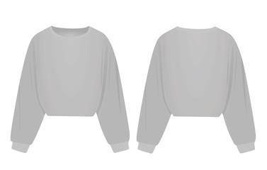 Woman grey crop hoodie. vector illustration Fotomurales