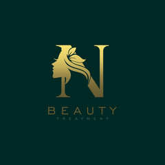 Letter N Luxury Beauty Face Logo Design Vector