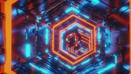 abstract background motion video of a specular gem moving in the center of hexagon tunnel of bright blue and red neon lights. 3d rendering animation in 4K.