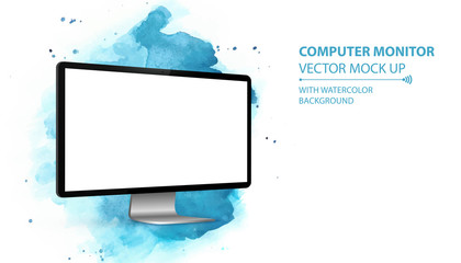 Computer Monitor Vector Mockup With Perspective View. Isolated on Blue Watercolor Background.