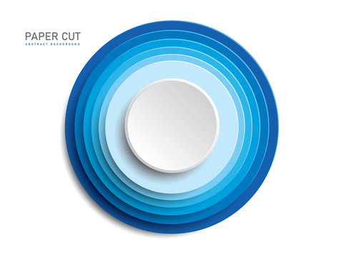 3d blue button shapes on white background in paper cut style. Vector design multi layered wheels width shadow.