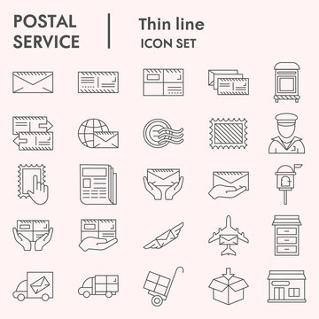 Postal service thin line icon set, Postage mail collection, vector sketches, logo illustrations, web symbols, linear pictograms package isolated on white background, eps 10.