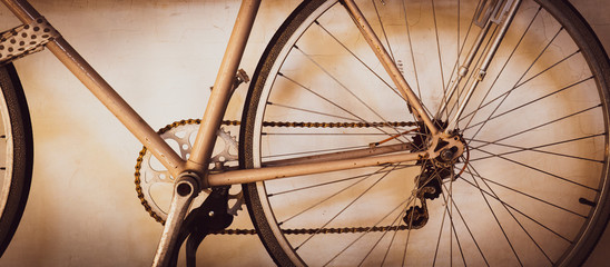 Close up picture of an old vintage bicycle on the white background