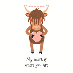 Hand drawn Valentines day card with cute yak, with quote My heart is where you are. Vector illustration. Isolated on white background. Scandinavian style flat design. Concept for kids print, invite.