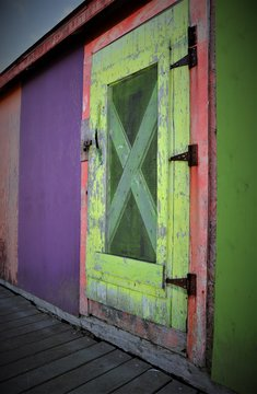 Old colorful fish shack door