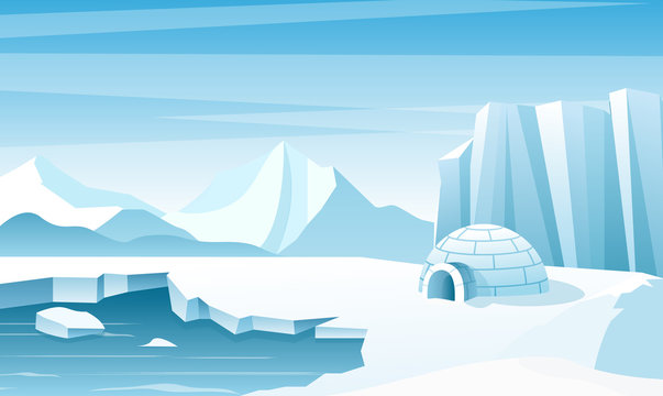 Arctic landscape with ice igloo flat vector illustration. House, hut built of snow. Ice mountains peaks. Eskimo people shelter inhabit. Big iceberg. Snowy north pole winter nature view.