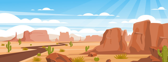 Sandy desert landscape colorful flat vector illustration. Empty valley with rocks, crags and green cactuses. Dry land with draughts and hot climate. Arizona beautiful panoramic view.
