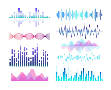Sound effects vector color illustrations set. Soundwaves and voice vibration visualization. Audio player equalizer. Purple lines and curves isolated design elements pack. Soundtrack rhythm.