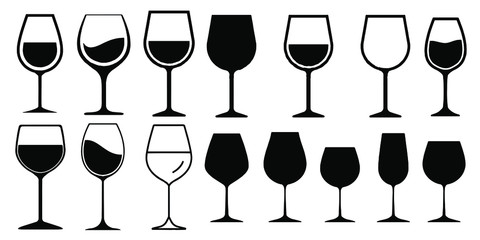 Wine Glass Icon Vector Simple Design symbols