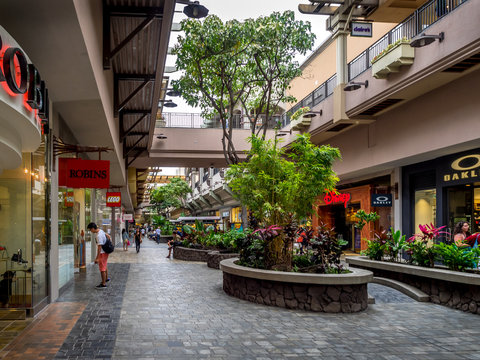 Central atrium at the Ala Moana Center on April 25, 2014 in Waikiki, Hawaii. The Ala Moana Center is the favorite luxury shopping mall for tourists in the Waikiki area.