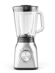 Blender appliance with glass container isolated on white background. 3d realistic rendering of electric Blender.