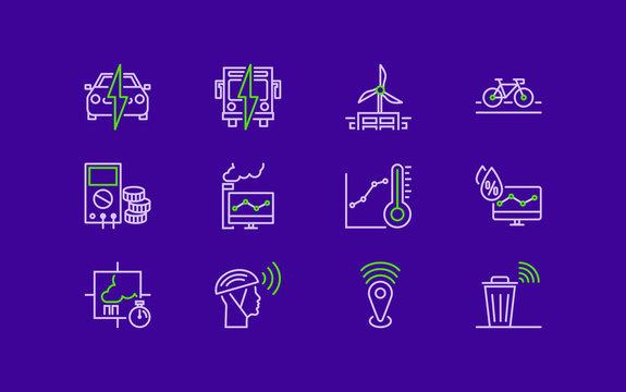 12 Purple Green Smart City Cities Vector Icons