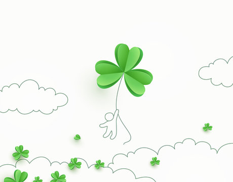 Shamrock flying green leaves banner. Irish Good Luck concept background. Vector clover pattern for Saint Patrick's Day holiday greeting card design..