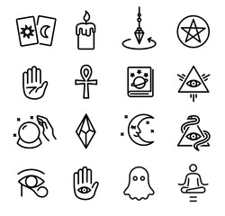 Occultism and Spiritism Icons Set