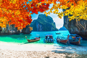Beautiful nature scenic landscape sea beach in colorful autumn trees, Lao lading island Krabi, Travel in your dream Phuket Thailand beach summer holiday vacation trip, Tourism destination place Asia Fotomurales