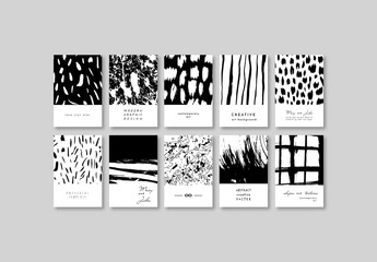 Creative Posters Layout Set with Ink Texture