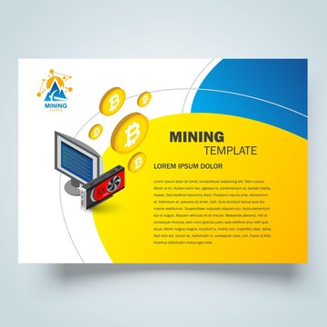Mining Flyer brochure design template, cryptocurrency