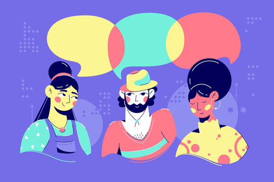 Young african american, asian woman and man speech bubble discussion.