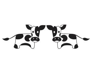 Cartoon cute cow icon. Cow milk vector logo. Meat farm funny label. Dairy eco product emblem vector illustration.