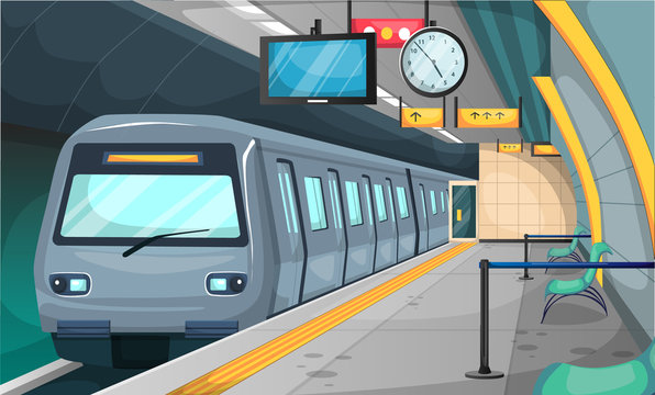 Subway Train Station with Floor and Stop Sign, Chairs, Recycle Trash, Broom, Big Clock, TV Time for Vector Illustration Interior Design Ideas