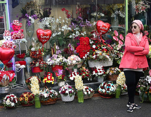 Flowers and heart shaped balloons are seen on Valentine's day in Tehran