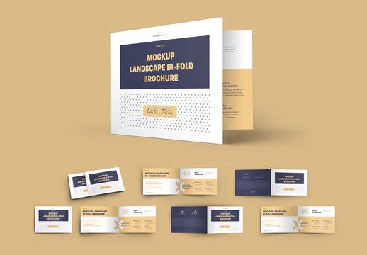 6 Mockup Set Landscape Bi-Fold Brochures