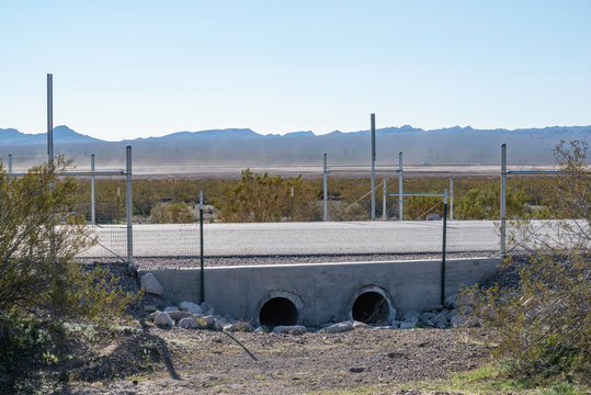 USA, Nevada, Clark County, Eldorado Valley, Boulder City. A specialized wildlife crossing with underpass tunnels designed to allow  threatened Mojave desert tortoise to cross roads.