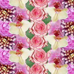 Wall Mural - Beautiful floral background of guzmania, roses and orchids. Isolated