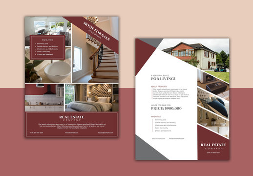 Flyer Layout with Dark Red Accents