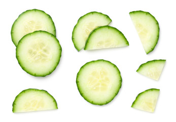Fresh Cucumber Slices Isolated On White Background