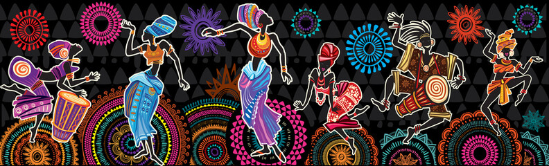 Deurstickers Boho Stijl Dancing people on Ethnic background with African motifs