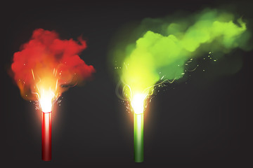 Burn red and green flare, signal light for emergency on road or sea. Vector realistic glowing torch with sparks and color smoke isolated on black background. Ignition pyrotechnics on football stadium Fototapete
