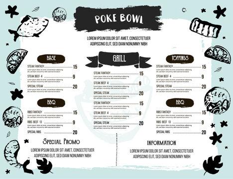 Poke bowl restaurant menu design. Colorful grunge cafe template, healthy hawaiian nutrition, fish banner