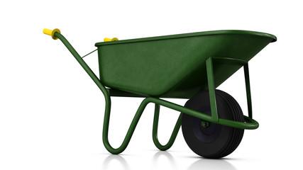 Green labor wheelbarrow in studio. 3D illustration