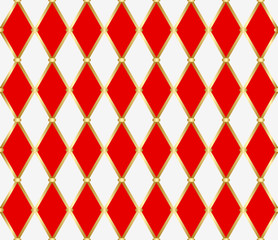 Keuken foto achterwand Kunstmatig Harlequin ornament. Golden grid with red and white rhombuses. Abstract seamless pattern for interior decoration, design packaging and textile. Vector illustration