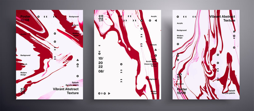 Abstract vector poster, set of modern design fluid art covers. Beautiful background that applicable for design cover, invitation, presentation and etc. Pink, ruby and white creative artwork