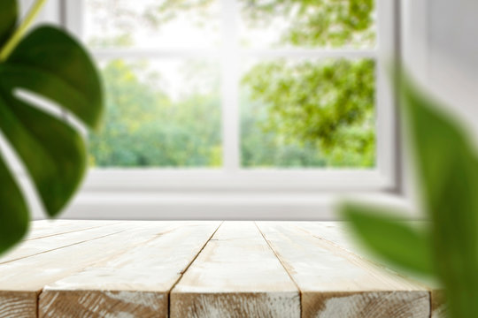 Table background of free space and spring window background