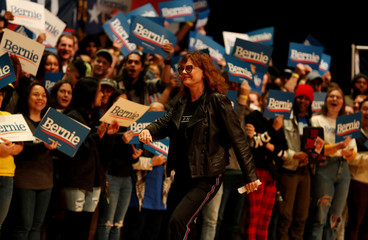 Actor Susan Sarandon walks off stage after speaking in support Democratic U.S. presidential candidate Senator Bernie Sanders at a campaign rally in Charlotte