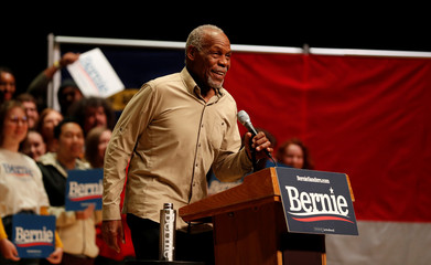 Actor Danny Glover speaks in support of Democratic U.S. presidential candidate Senator Bernie Sanders at a campaign rally in Charlotte