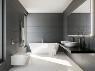 Obraz 3d interior of a grey anthracite bathroom - fototapety do salonu