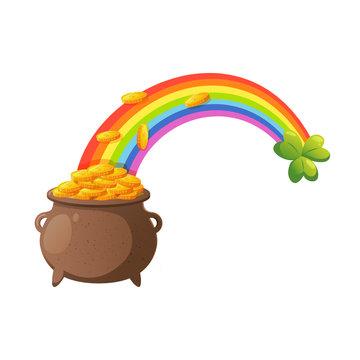 Rainbow with leprechaun pot full of golden coins.