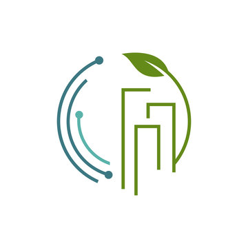 eco friendly tech green building technology logo design vector icon symbol